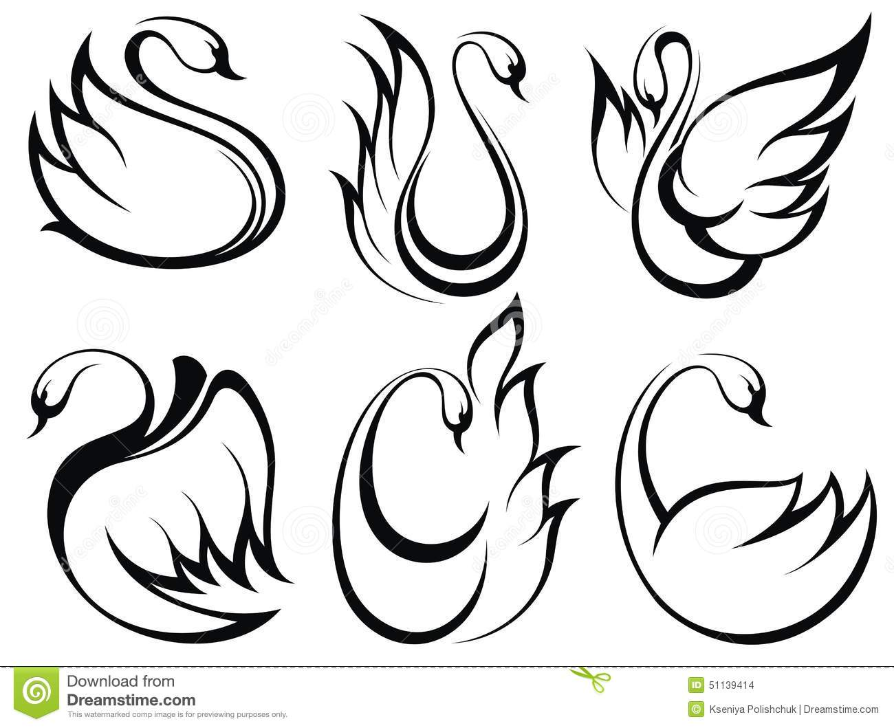 Swan Symbol Set Stock Vector Illustration Of Drawing