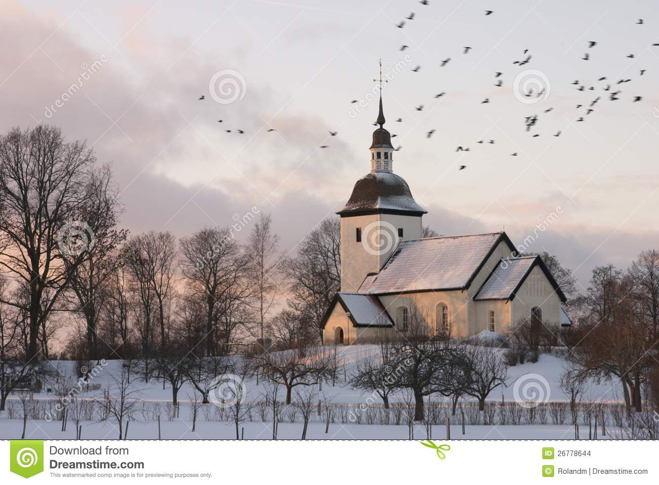 Swedish Church Winter Stock Images Image 26778644
