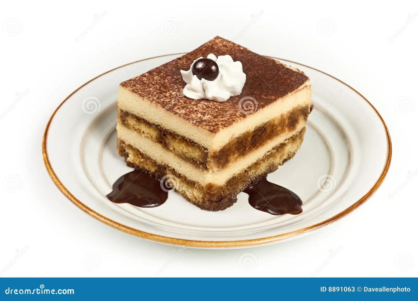 Sweet Italian Layered Tiramisu On Dessert Plate Stock
