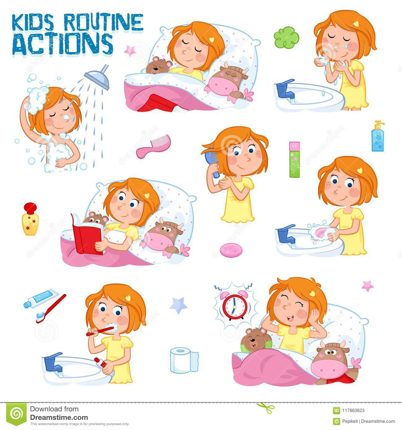 Sweet Little Girl With Ginger Hair And Her Daily Routines