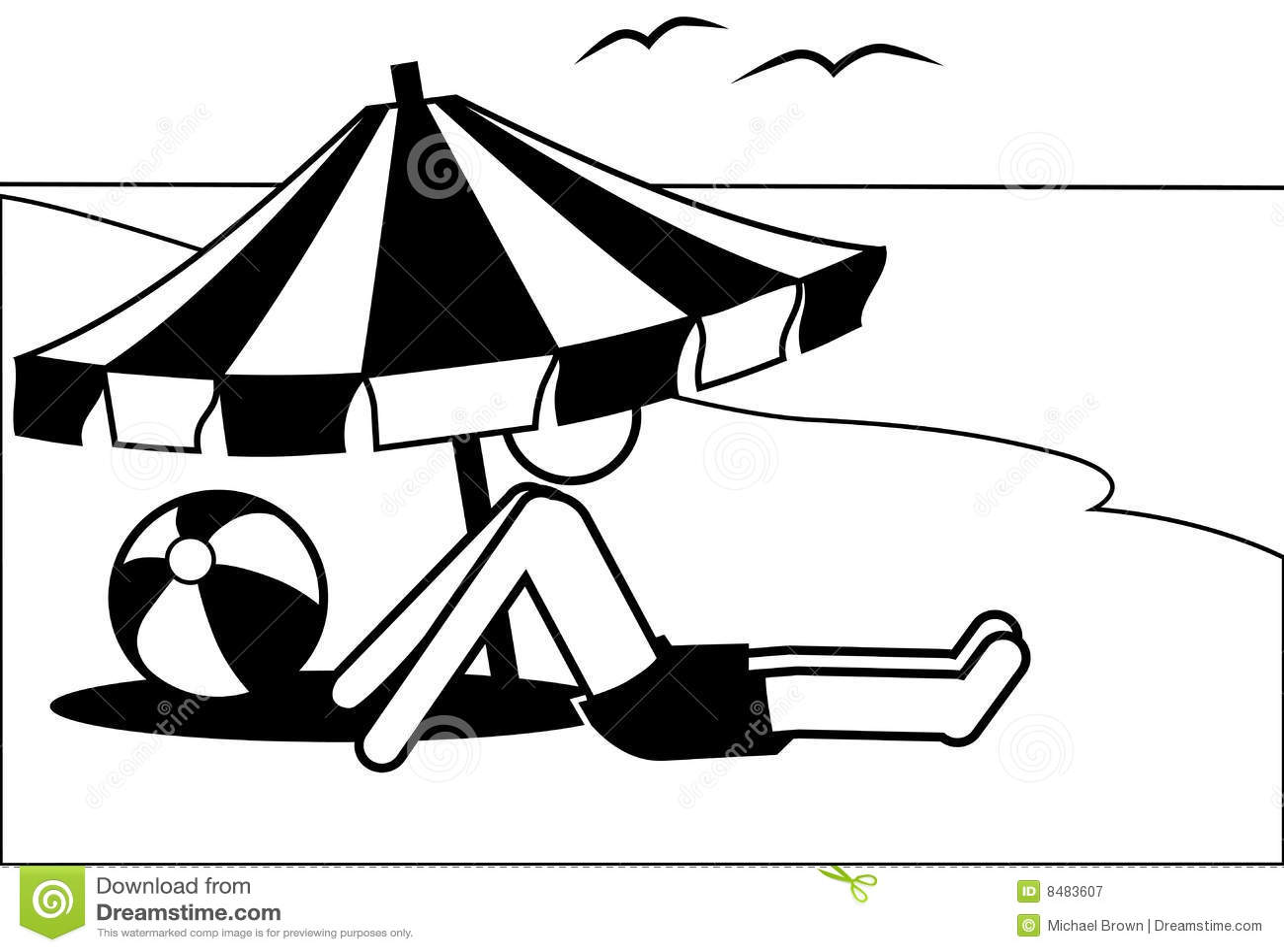 Symbol Man Vacations Under Beach Umbrella By Sea Royalty Free Stock Photography