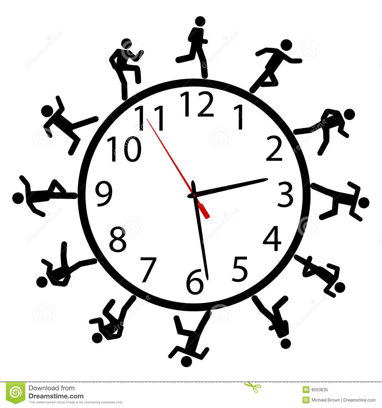 Symbol People Run A Race Around The Time Clock Royalty