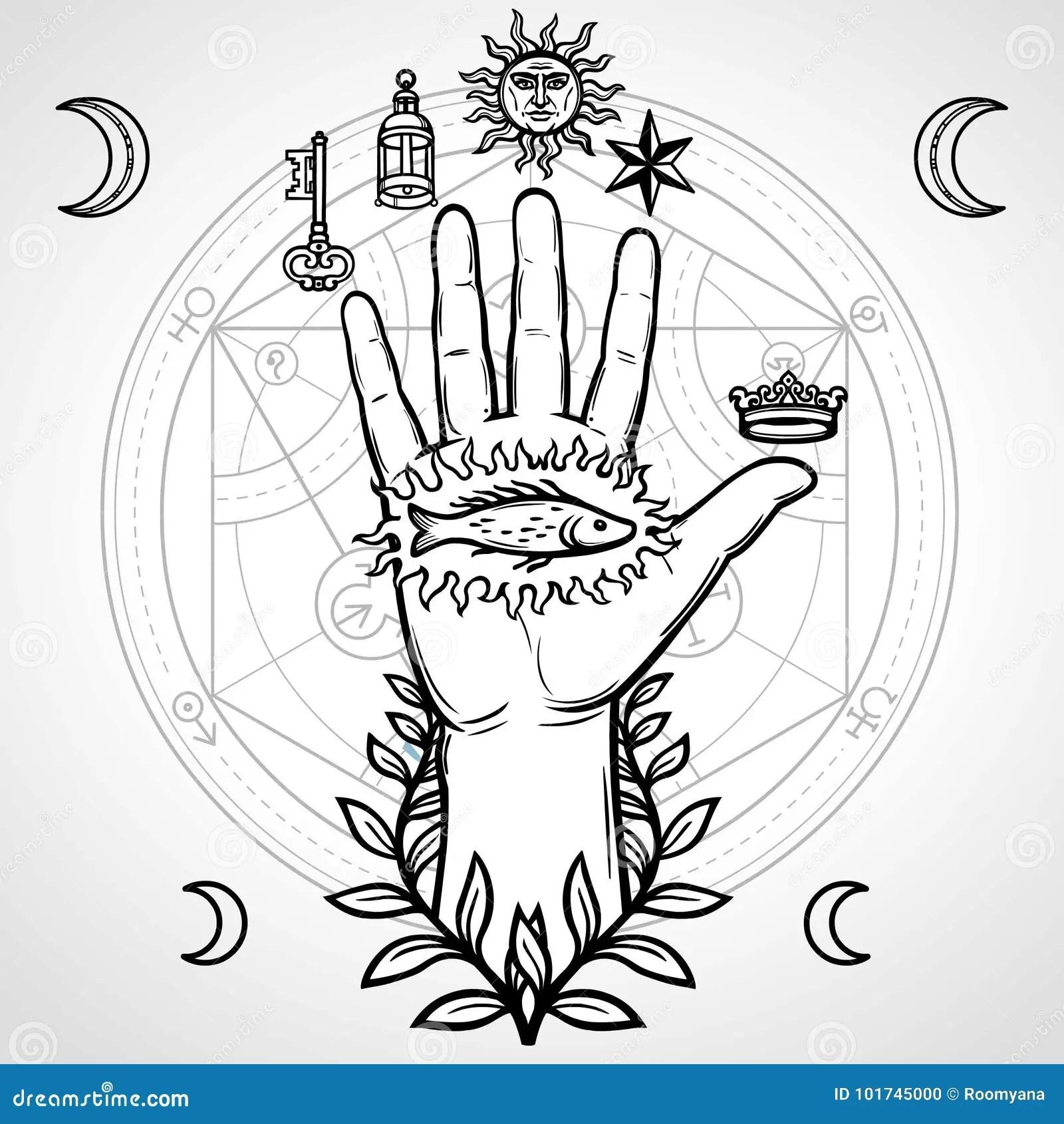 Symbole Mystique Main Humaine La Geometrie Sacree Cercle Alchimique Des Transformations