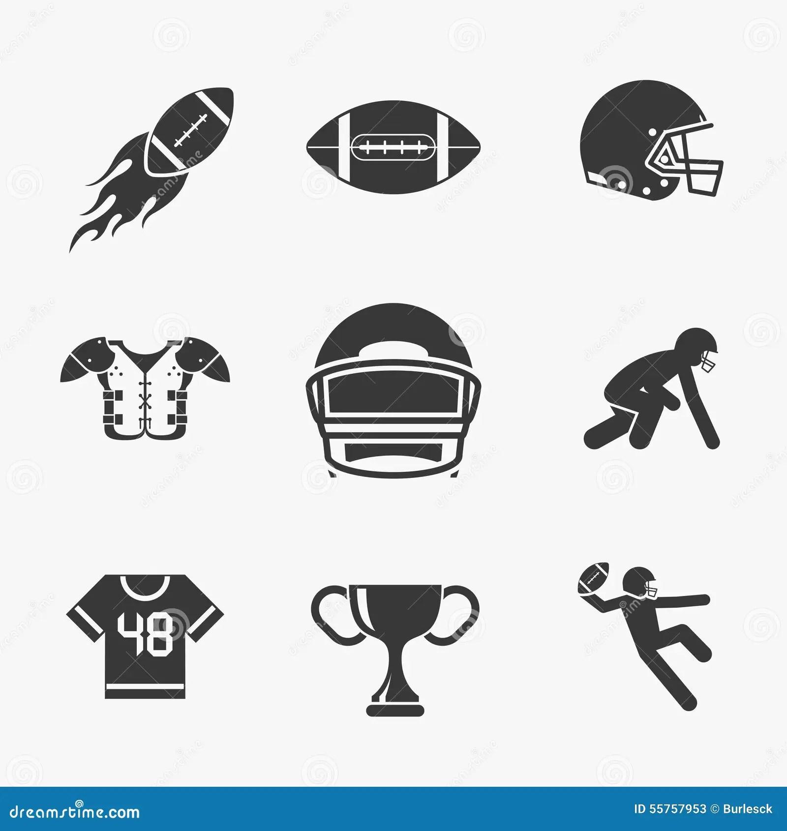 Symboler For Rugby Och For Amerikansk Fotboll Vektor