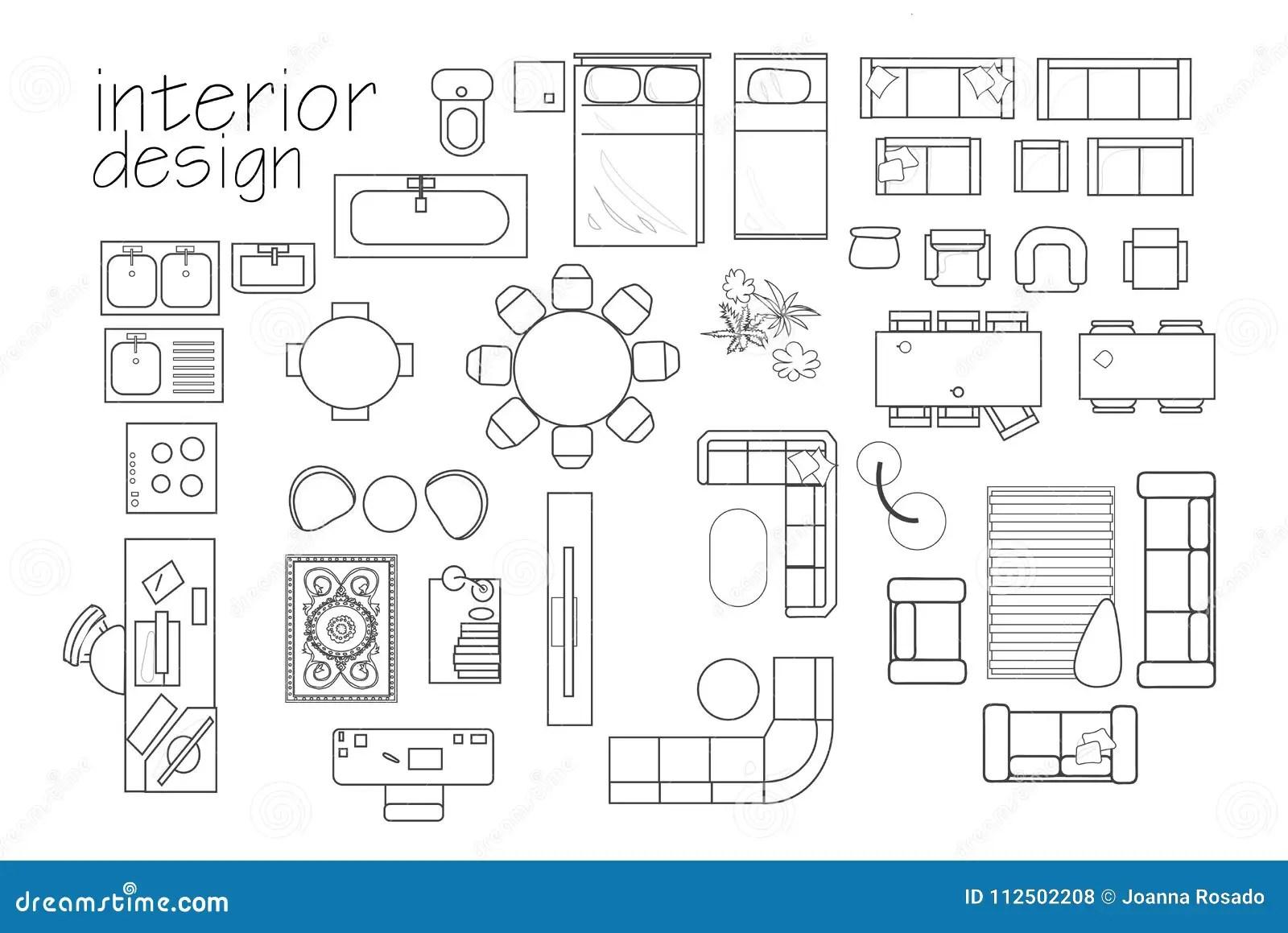 Symboles De Plan D Etage De Conception Interieure De