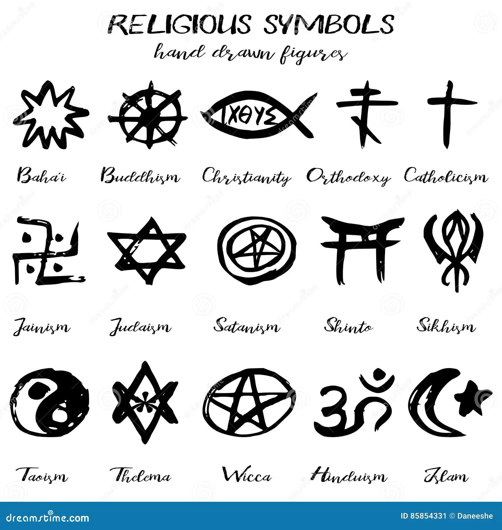 Symboles Religieux Grunges De Vecteur Tire Par La Main