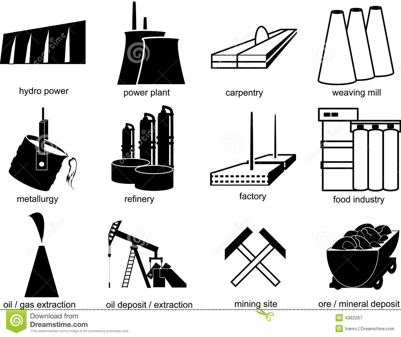 Symbols Of Industrial Objects Royalty Free Stock