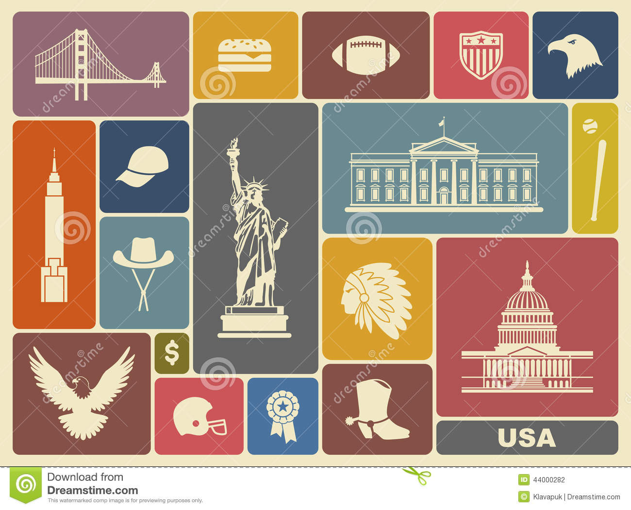 Symbols Of The Usa Stock Vector Illustration Of Cities