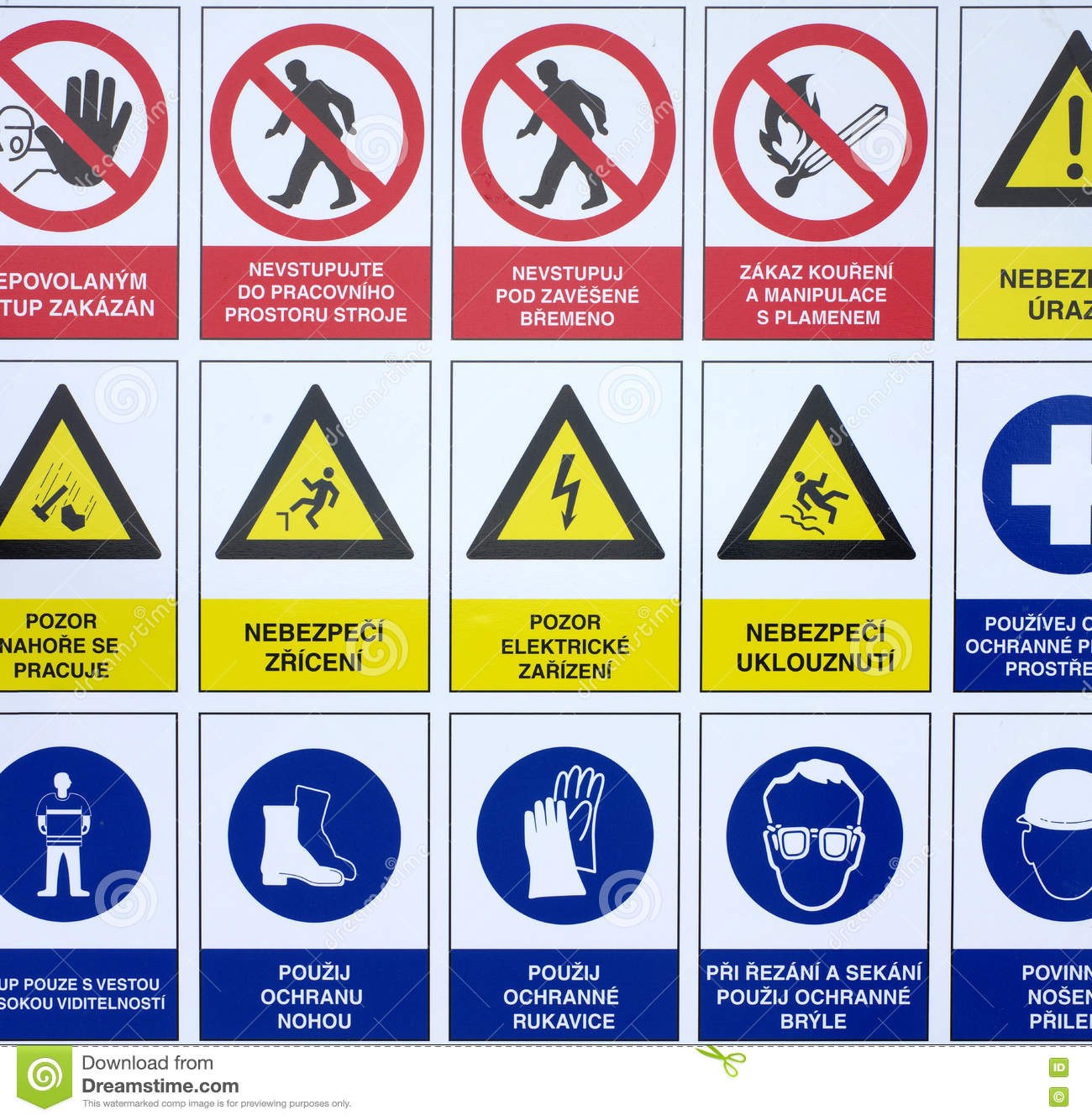 Symbols Warning Signs Construction Site Stock Image