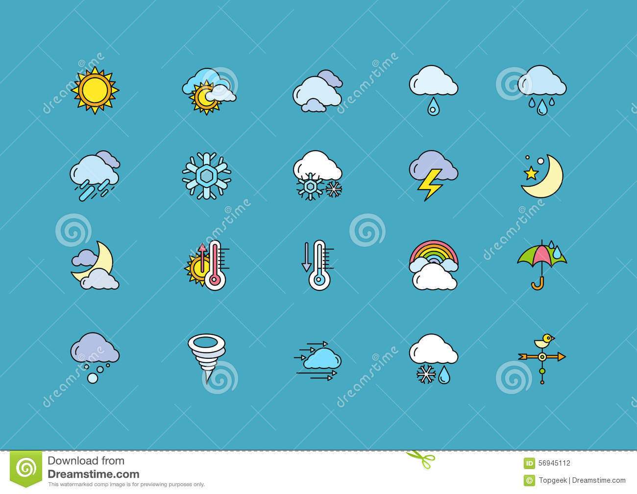 Symbols Weather Set Of Colorful Outline Icons Stock Vector