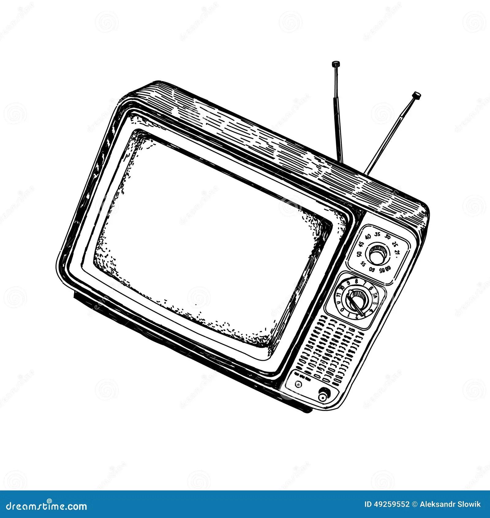 Television De Vintage Avec Des Antennes Dessinant