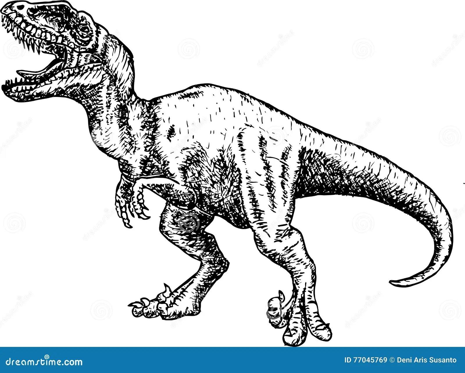 T Rex Dinosaur Dinosaurieteckningsblyertspennan Skissar