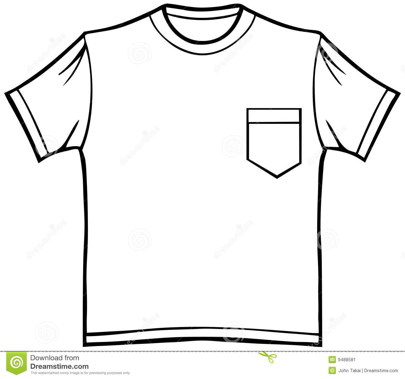 T Shirt With Pocket Stock Vector Illustration Of Cotton