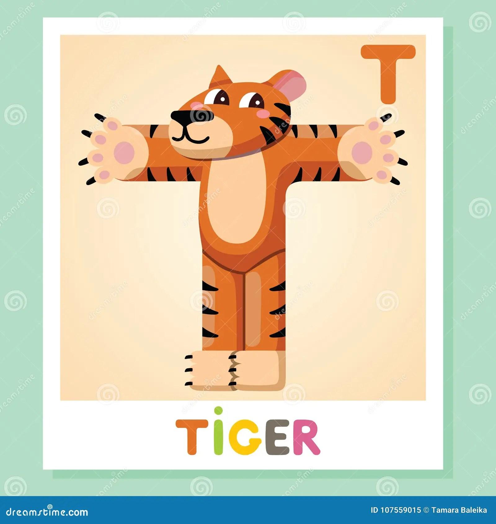 T Is For Tiger Letter T Tiger Cute Illustration Animal
