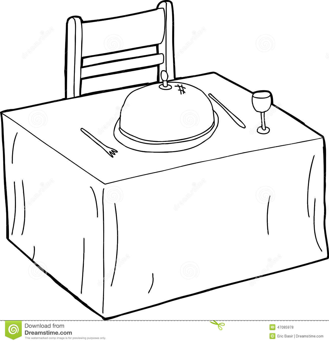 Table And Chair Outline Stock Vector Illustration Of Food