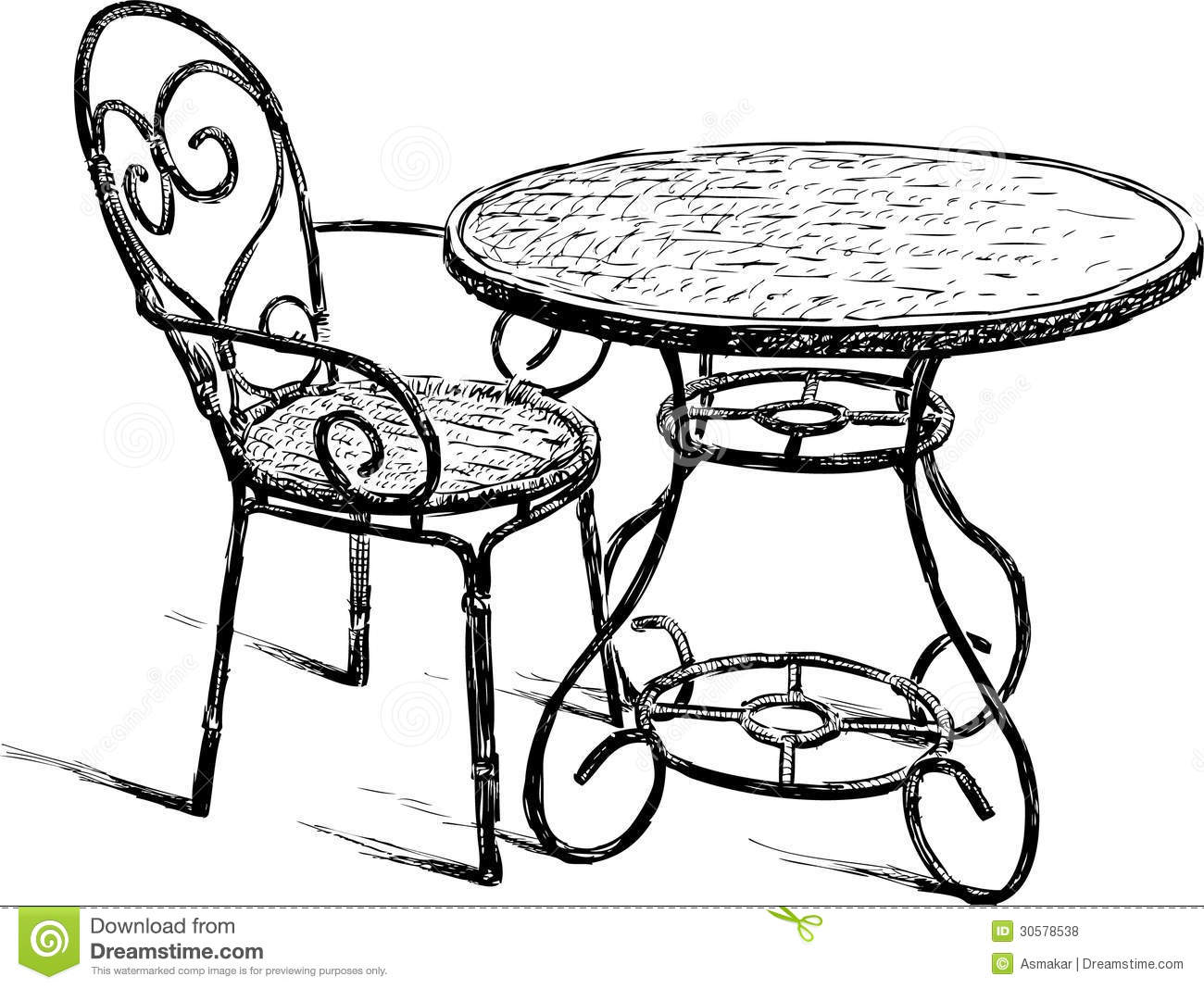 Table And Chair Royalty Free Stock Photos