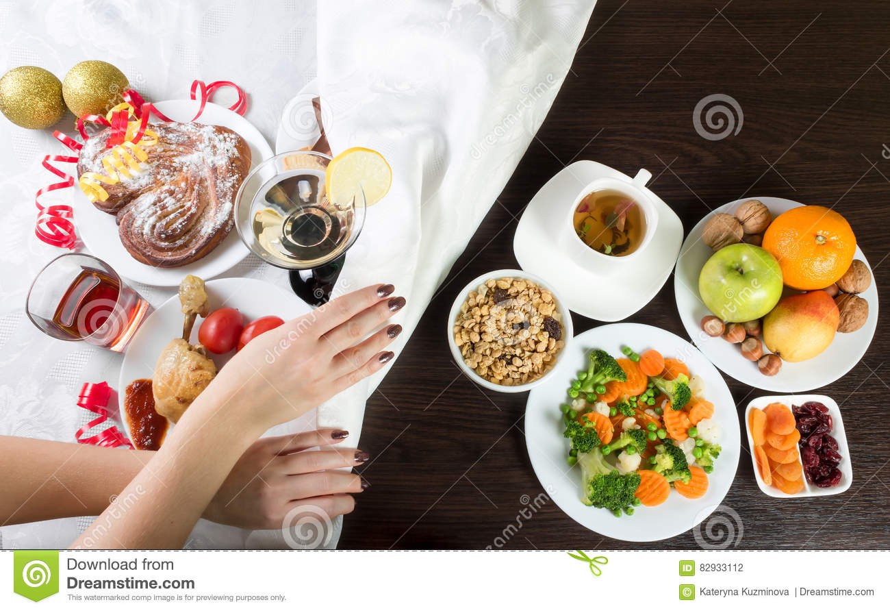 Healthy Unhealthy Food Stock Images
