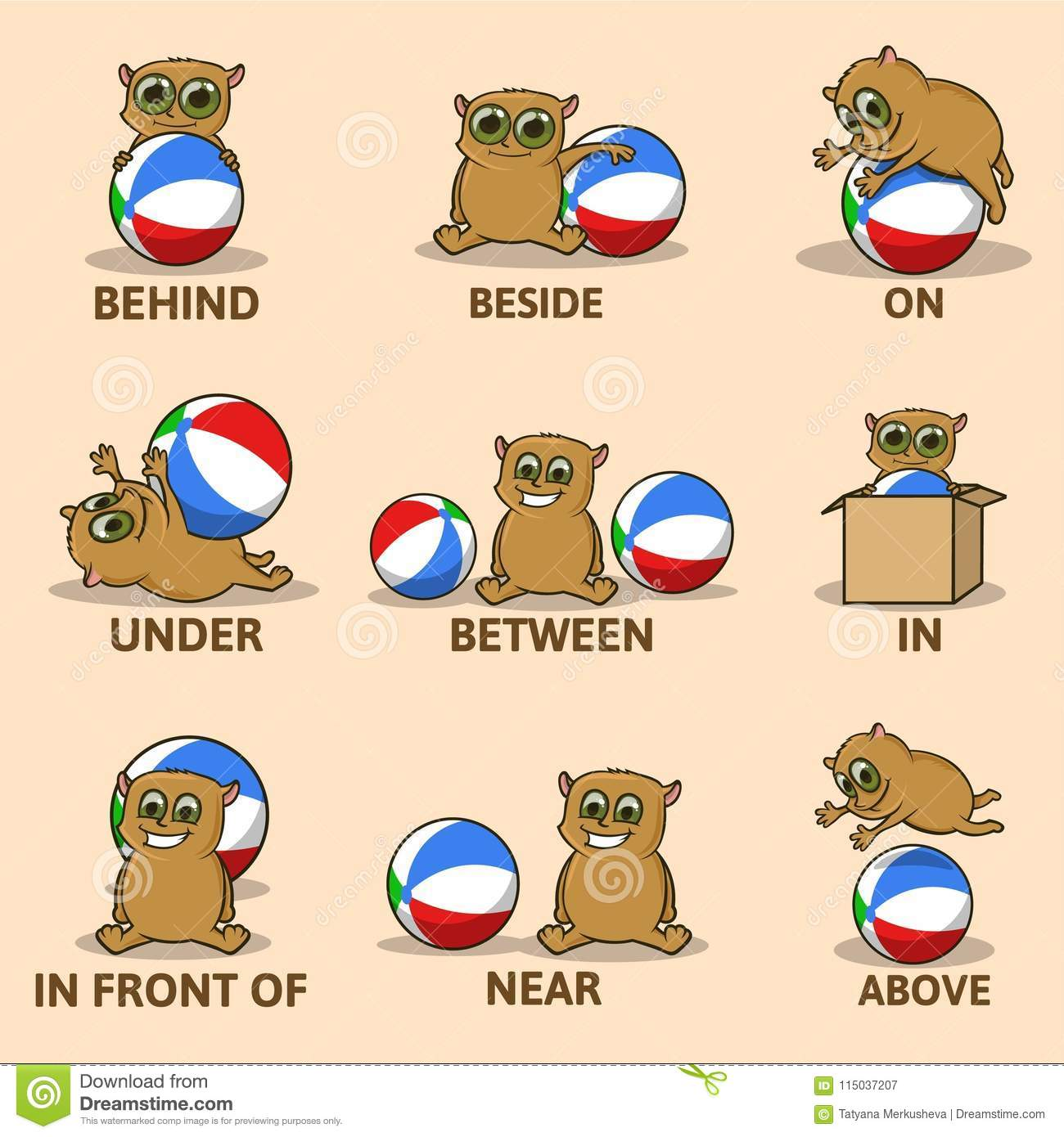 Table Of Prepositions Of Place With Funny Animal Character