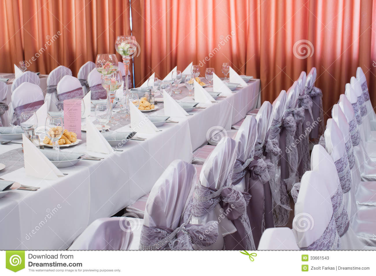 Table Set For An Event Party Or Wedding Reception Stock