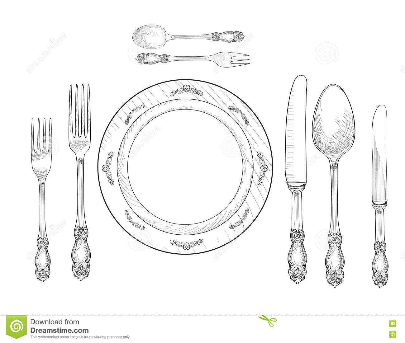 Table Setting Set Fork Knife Spoon Plate Sketch Set