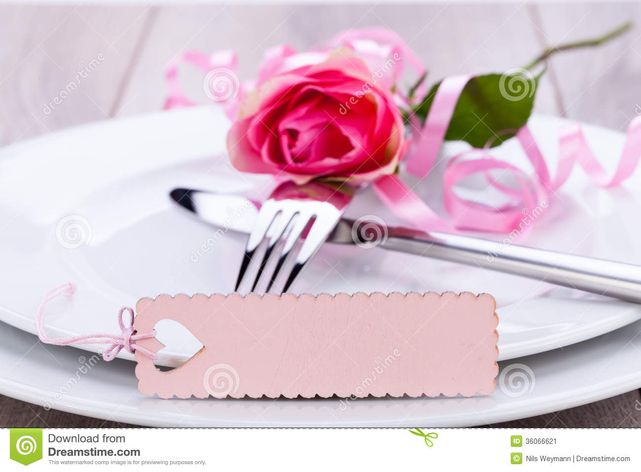 Table Setting With A Single Pink Rose Stock Image Image