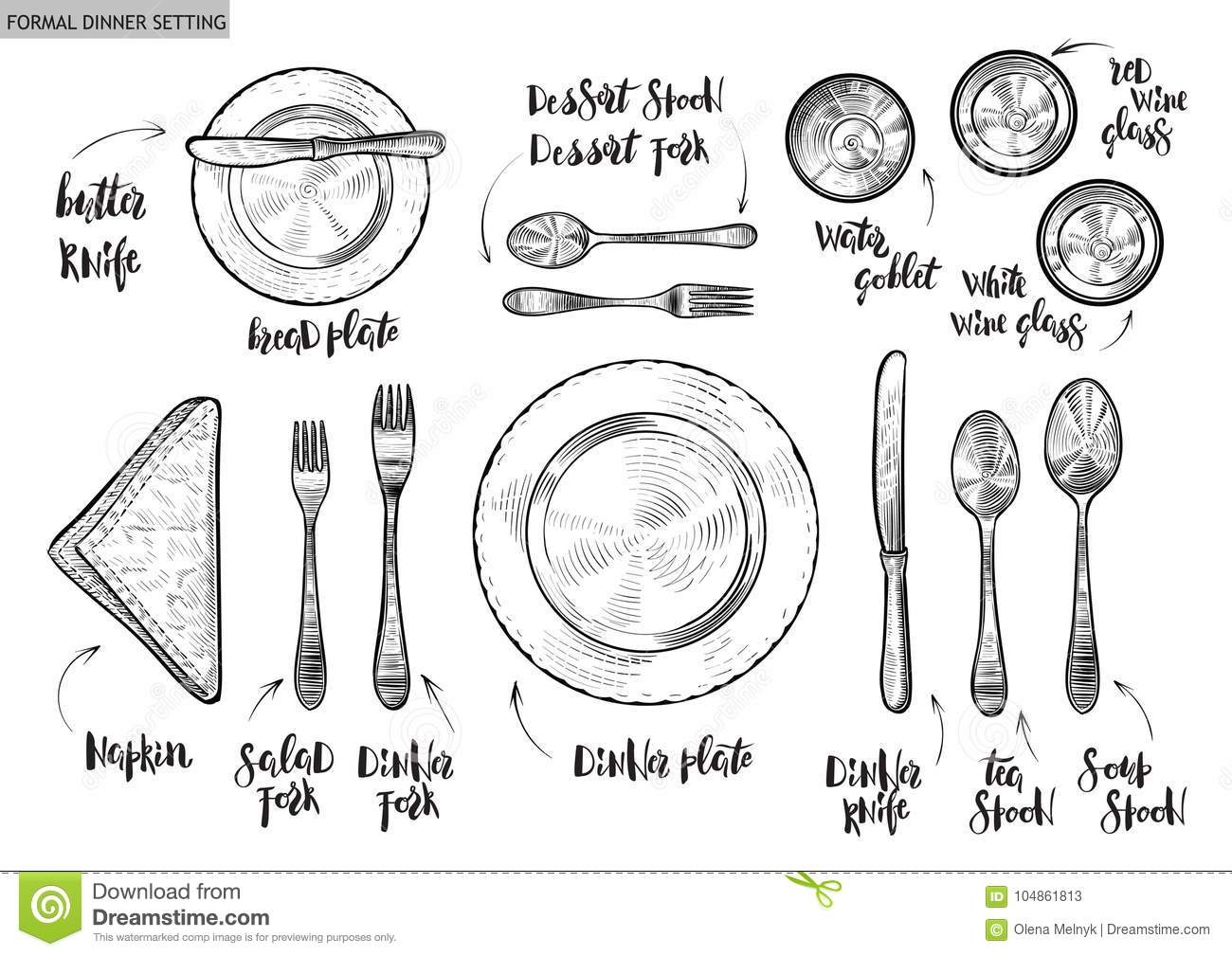Table Setting Top View Vector Hand Drawn Illustrations