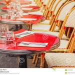 Tables Of Traditional Outdoor French Cafe In Paris Stock Photo Image Of Napkin Outdoors 95142708