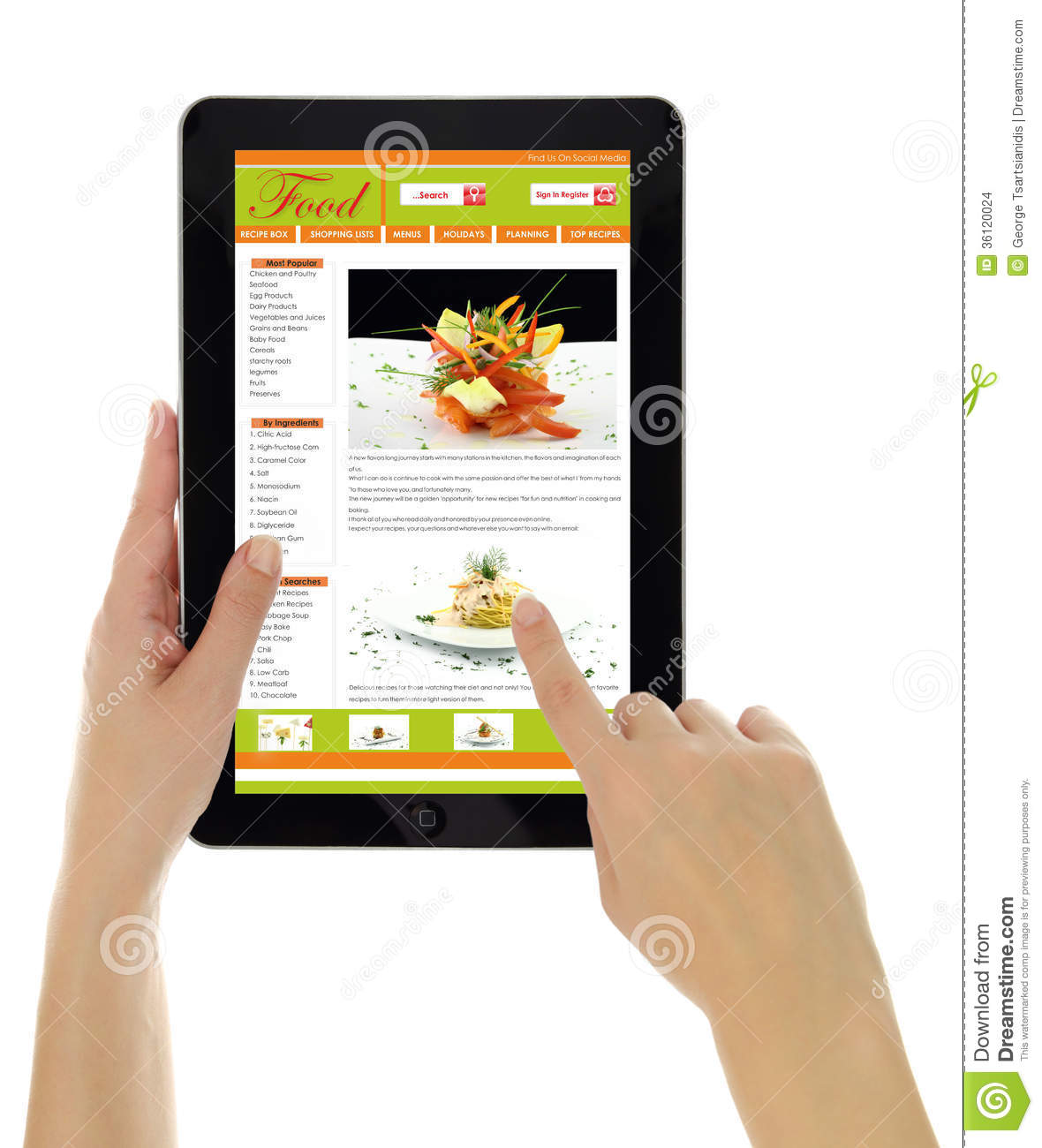 tablet with recipe isolated editorial stock image