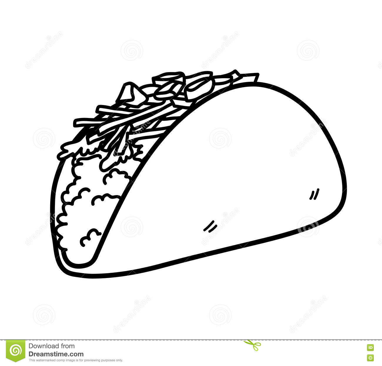 Taco Mexican Food Doodle Stock Vector Illustration Of