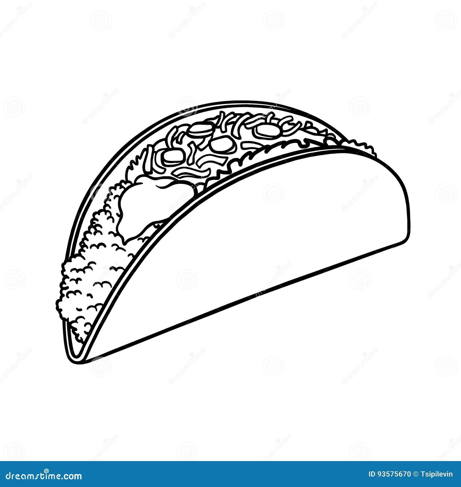 Taco Outline Illustration Stock Illustration Image Of