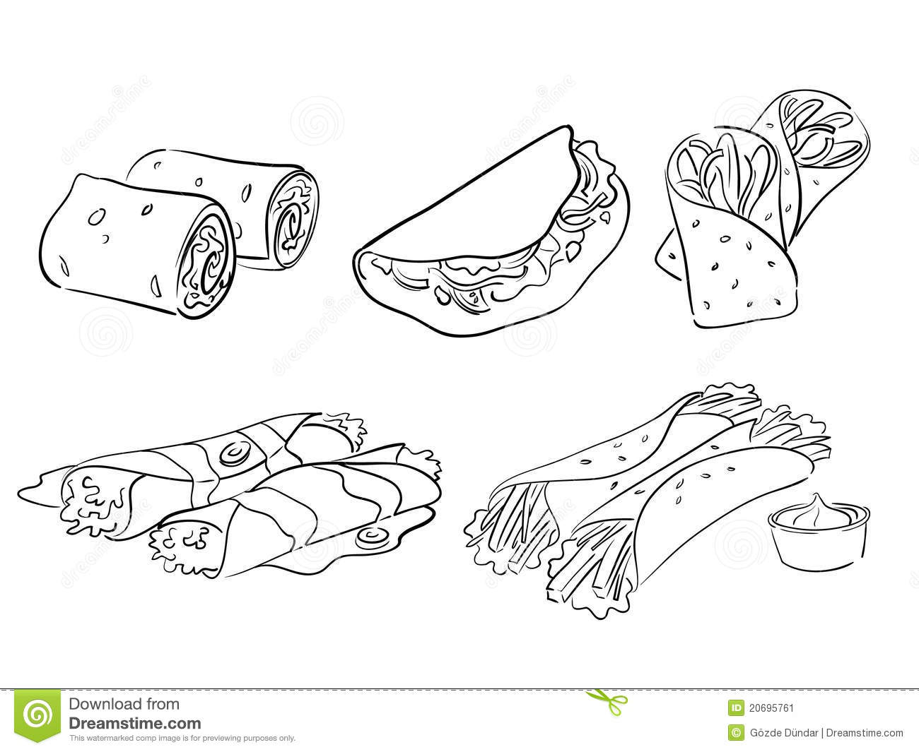 Taco And Wrap Styles Stock Vector Illustration Of Food