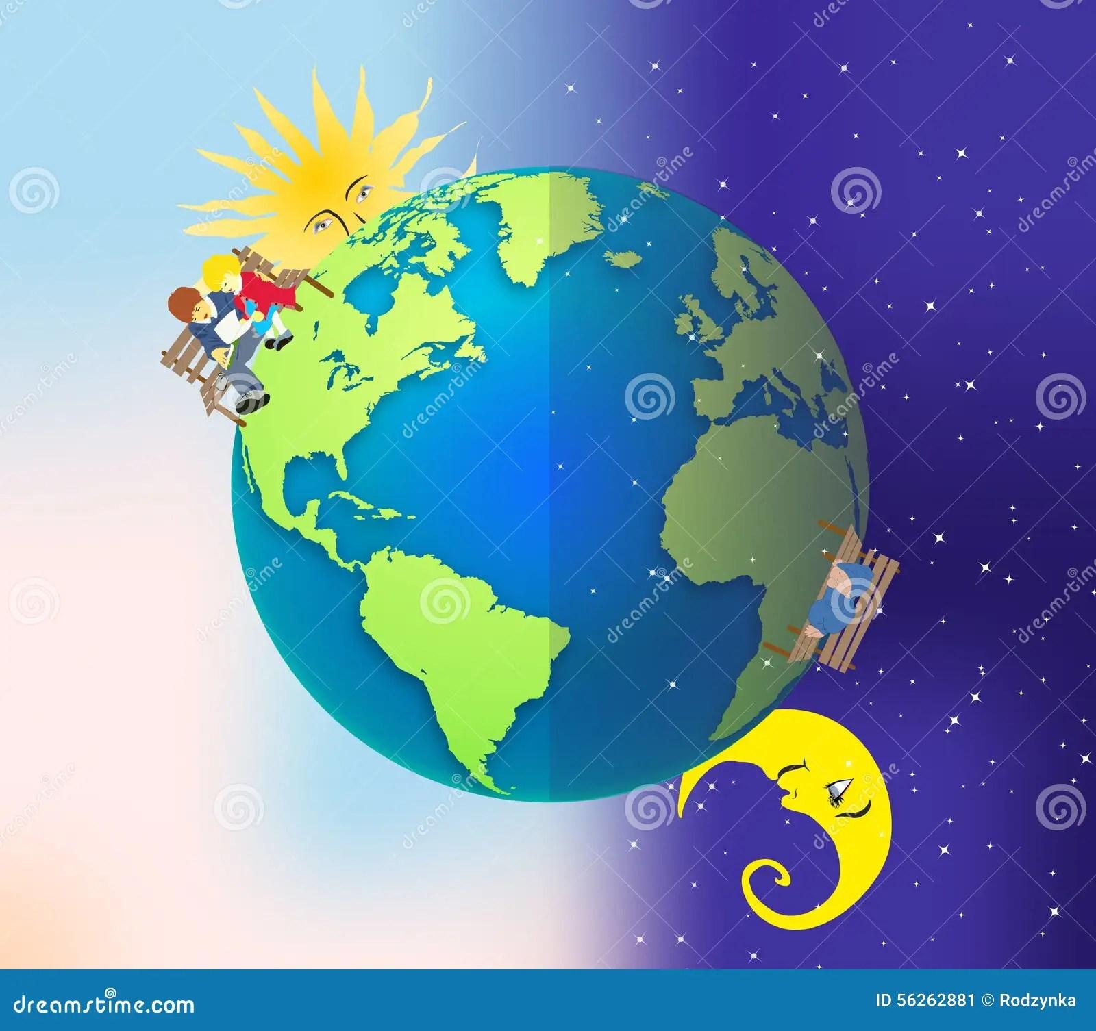 Tag Und Nacht Stock Abbildung Illustration Von Sonne