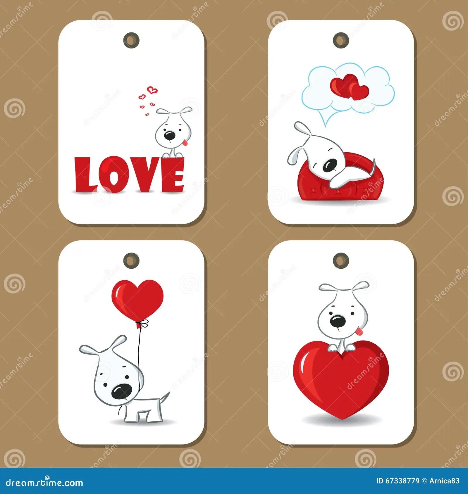 Cute Gift Tags Love Cartoon Vector