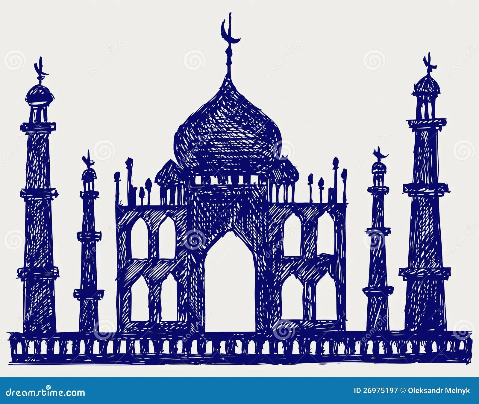 Taj Mahal Temple Silhouette Stock Vector Illustration Of