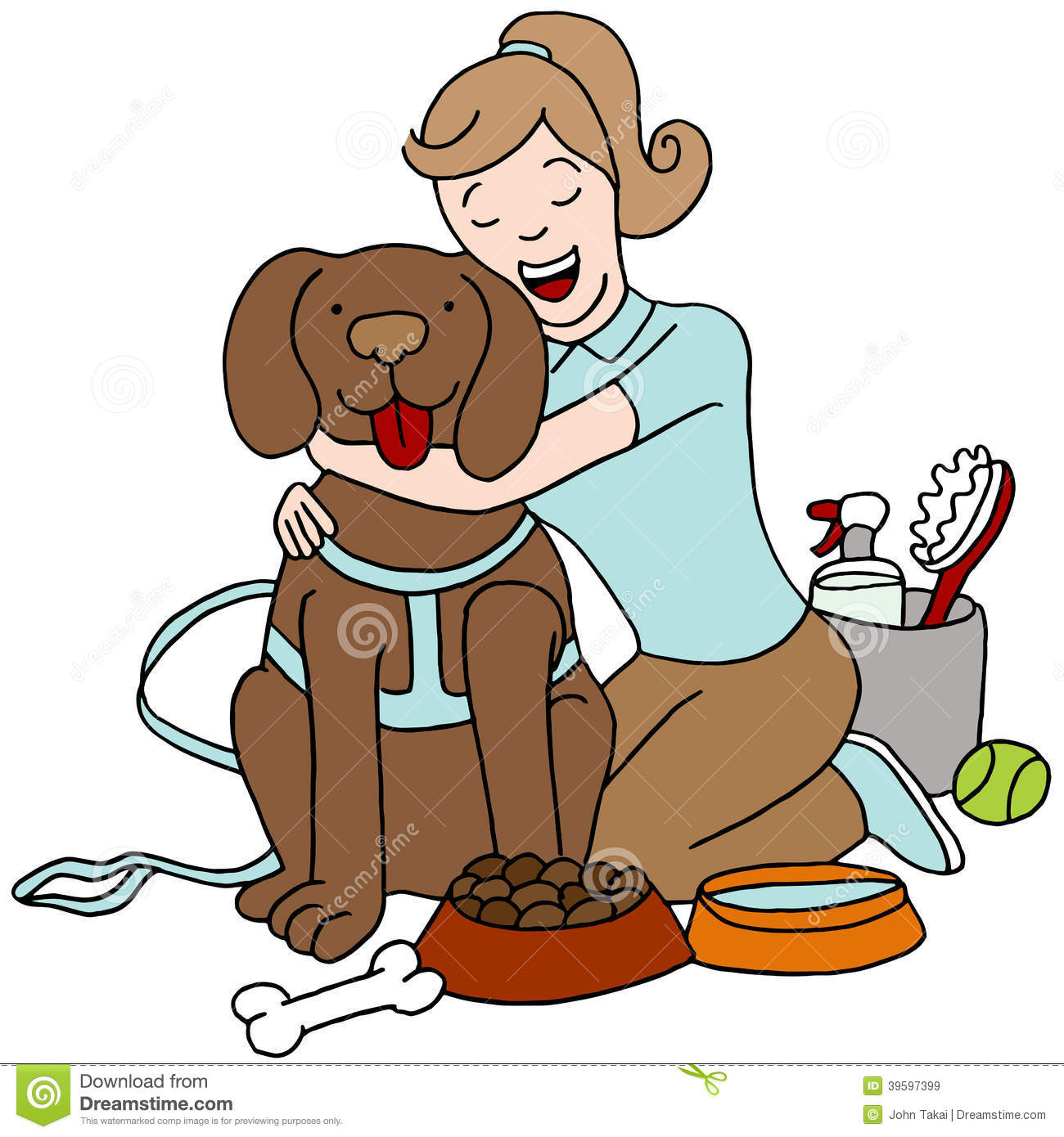 Taking Care Of Dog Stock Vector Illustration Of Graphic