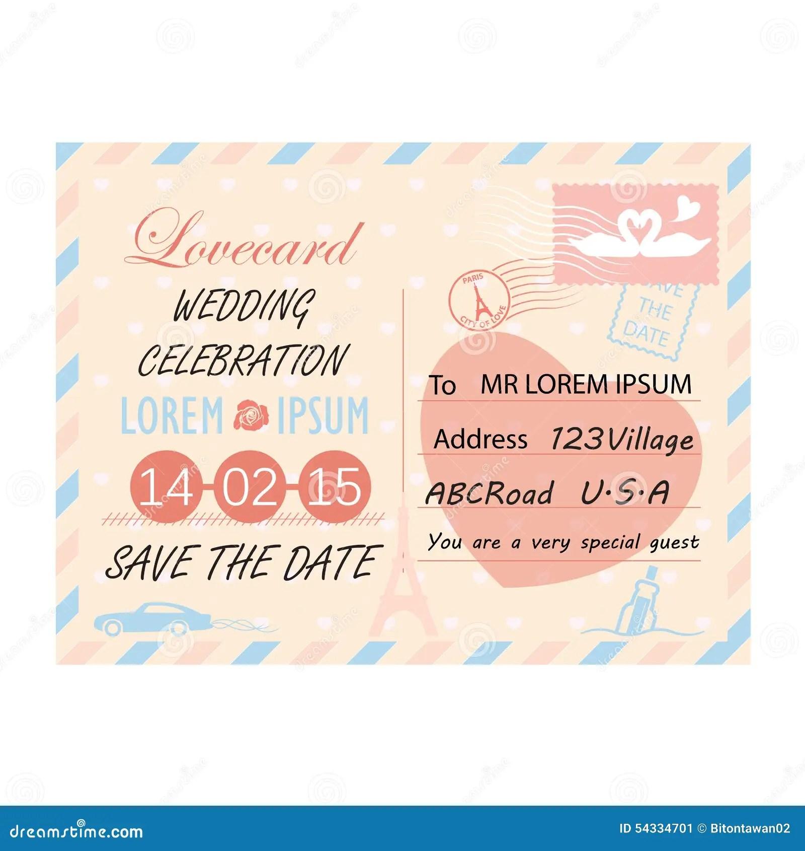 Postcard Wedding Invitations Template Royalty Free Stock Photos