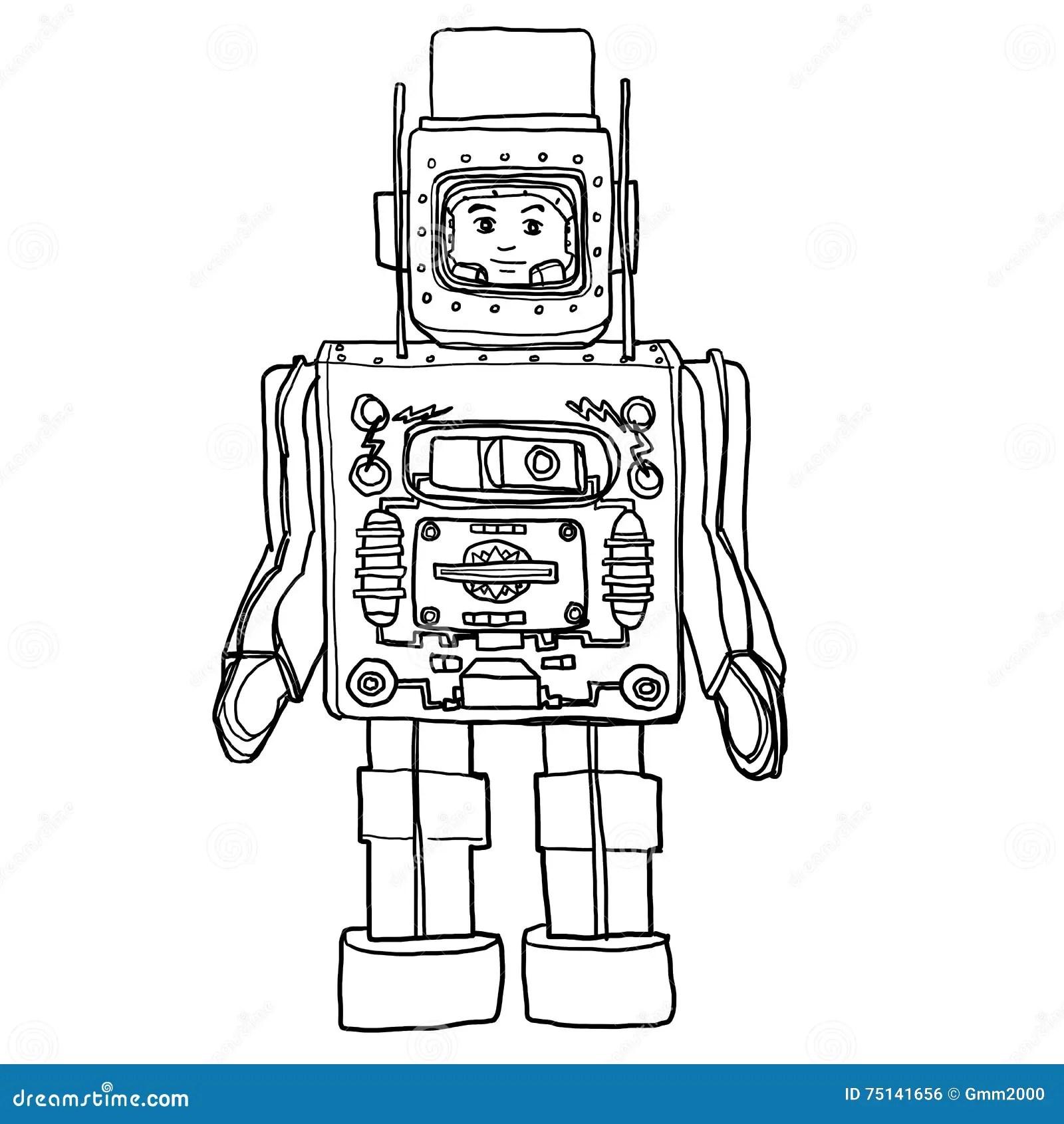 Tappningtenn Amp Plast Toy Robot Hand Dragen Gullig Linje