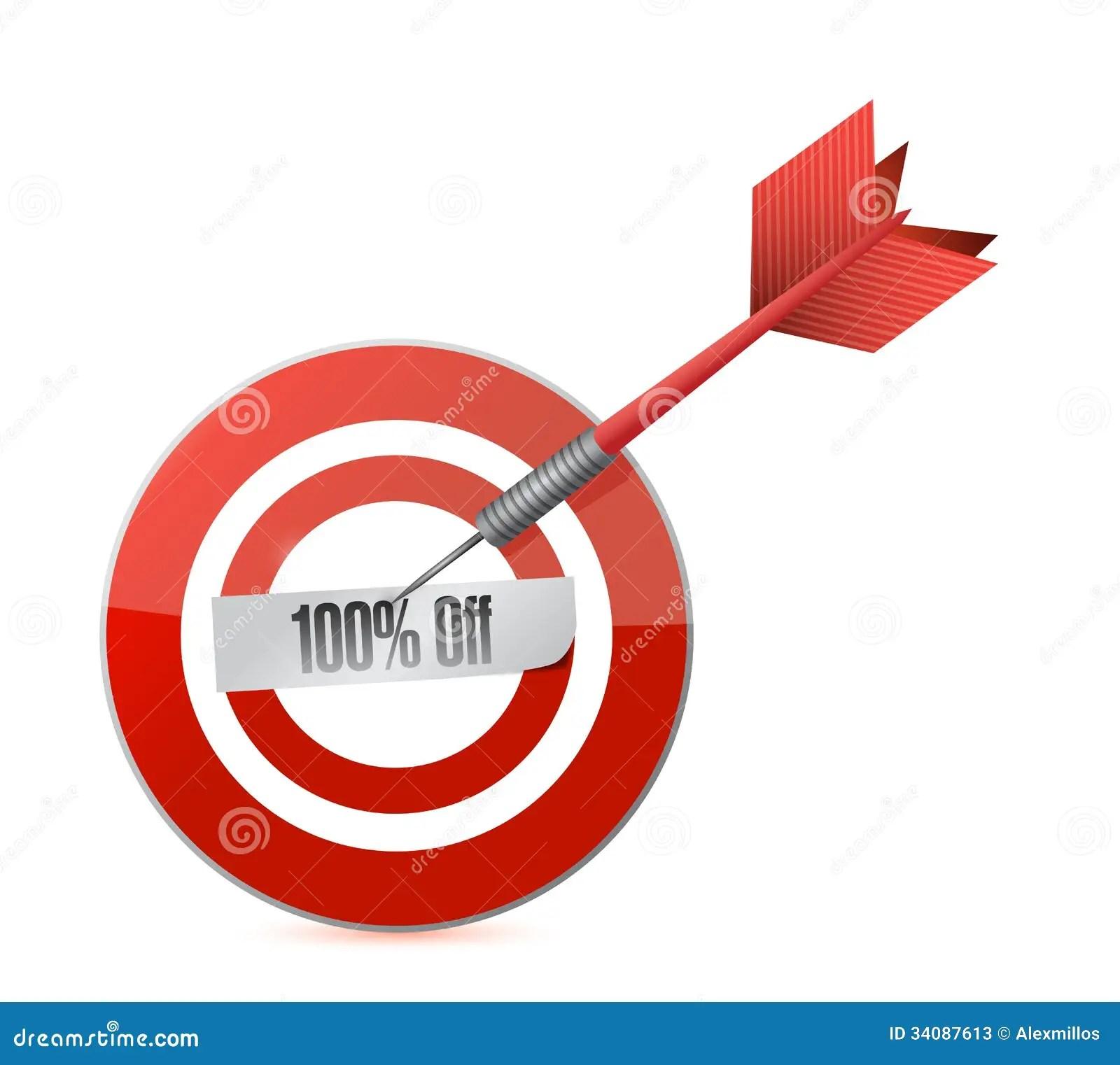 Target 100 Percentage Discount Illustration Stock Photos