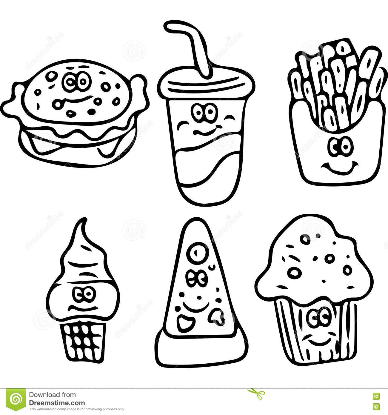 Tasty Fast Food Kids Coloring Page Stock Illustration