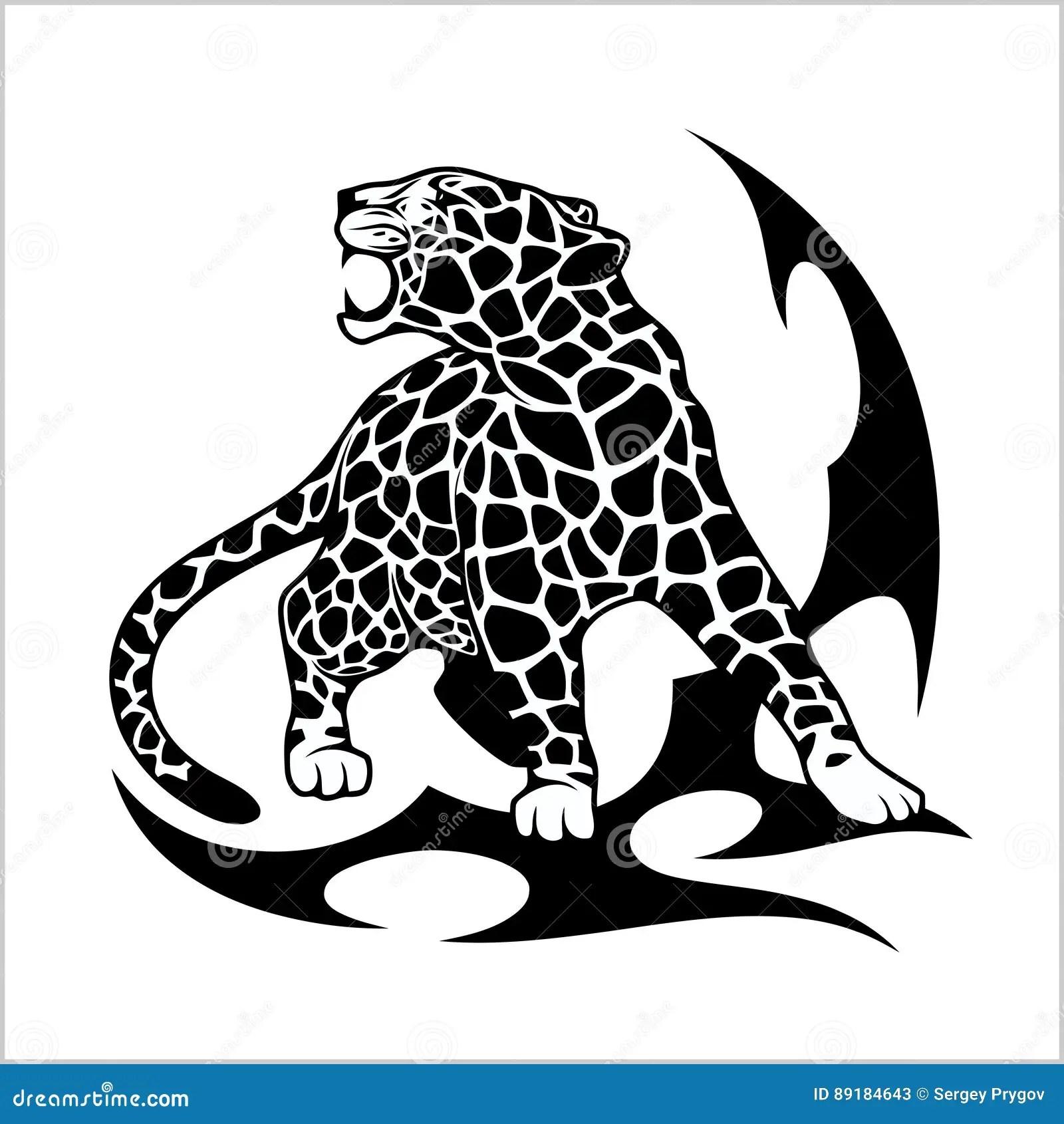 Tatouage De Flamme De Jaguar Illustration De Vecteur