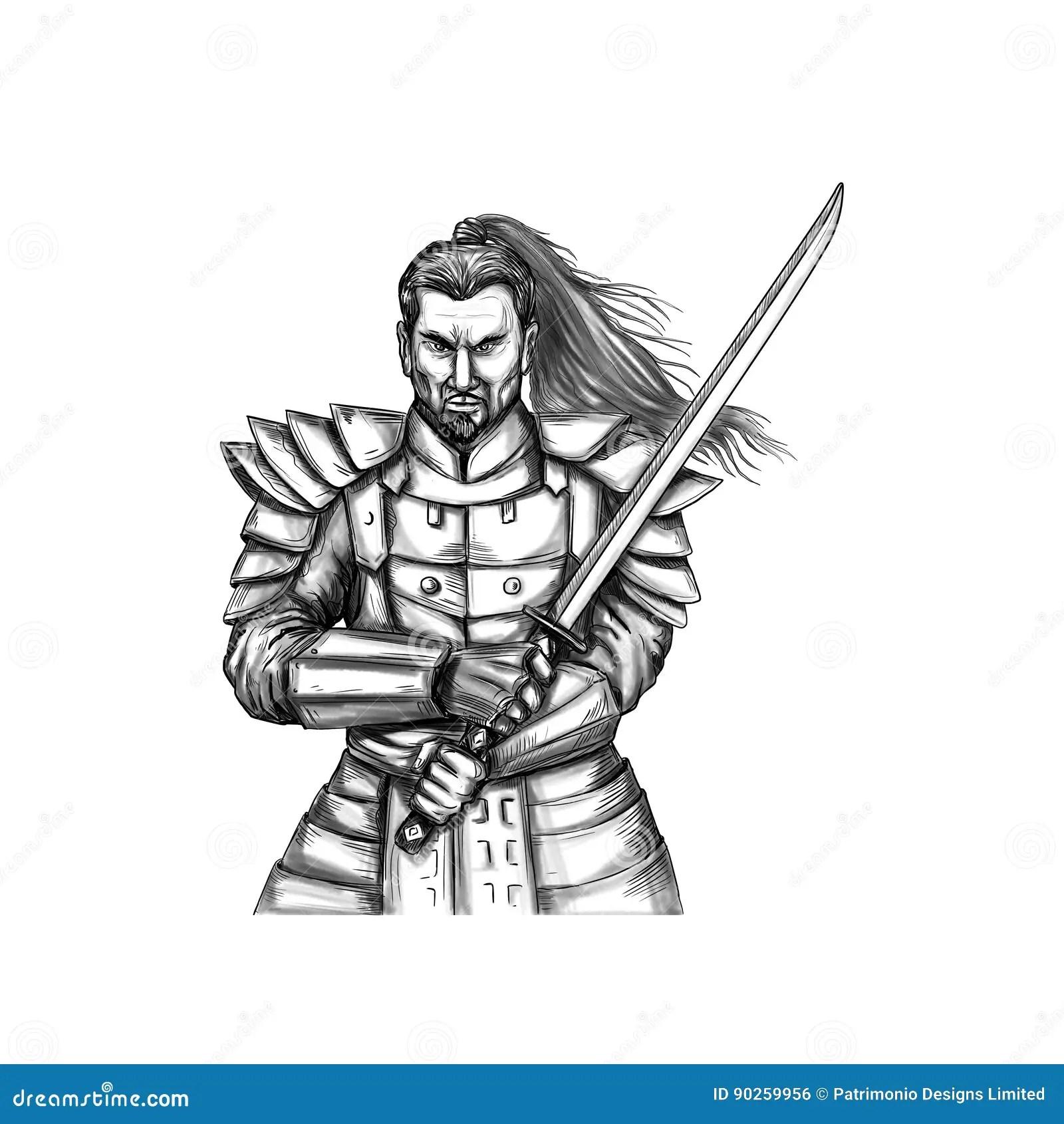 Tatouage Samourai De Position De Combat De Guerrier