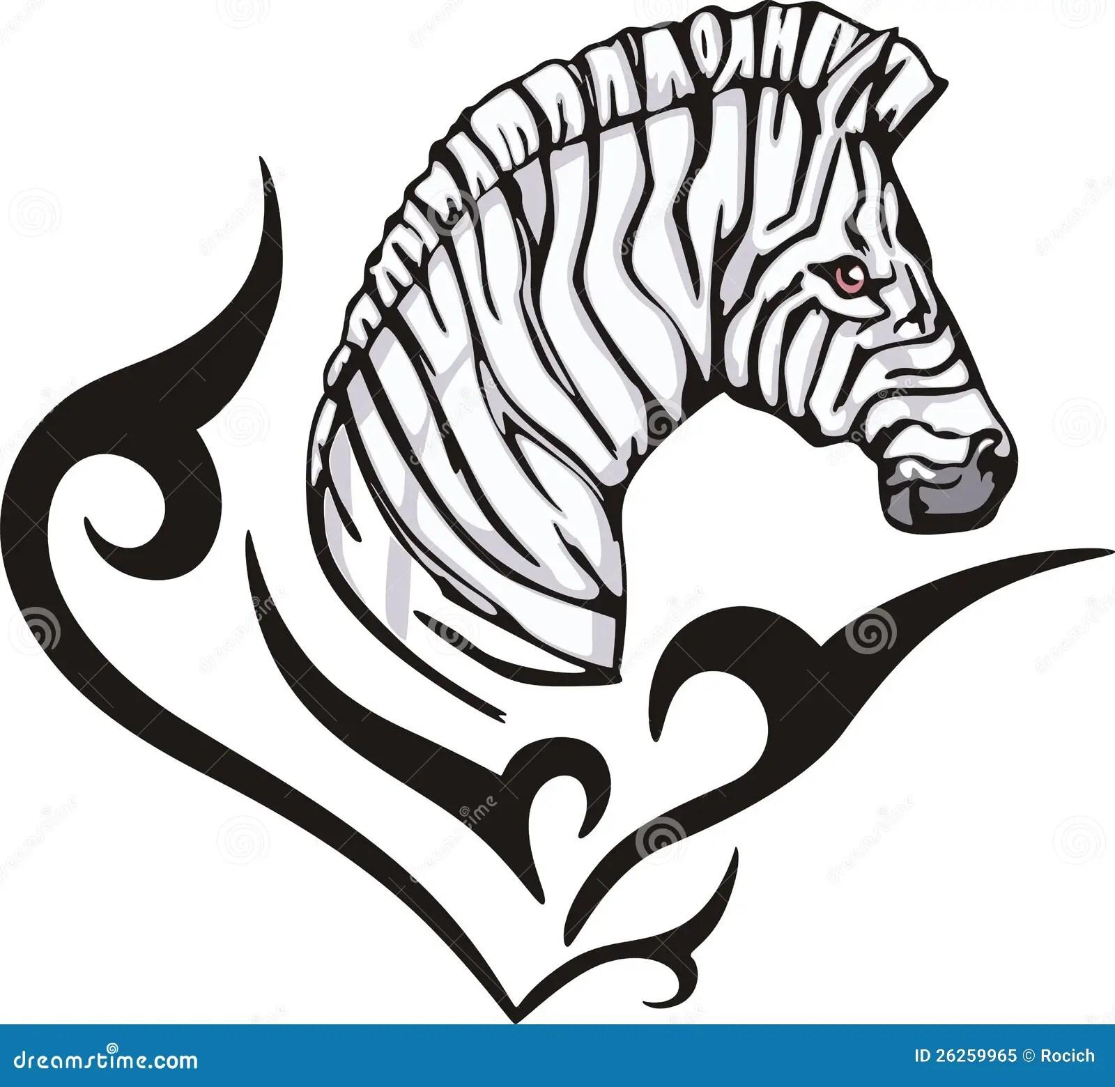 Tatuaggio Della Zebra Illustrazione Vettoriale