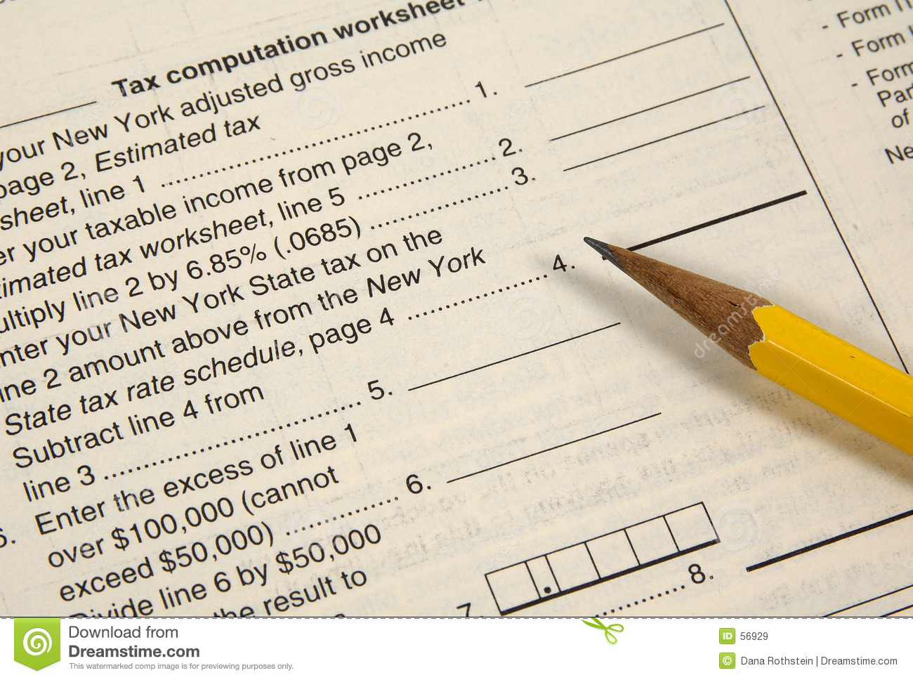 Tax Worksheet Stock Image Image Of Financial Accounting