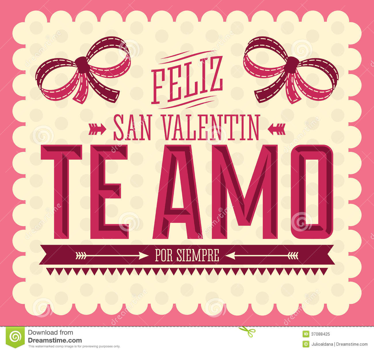 Te Amo Feliz San Valentin Stock Vector Illustration Of