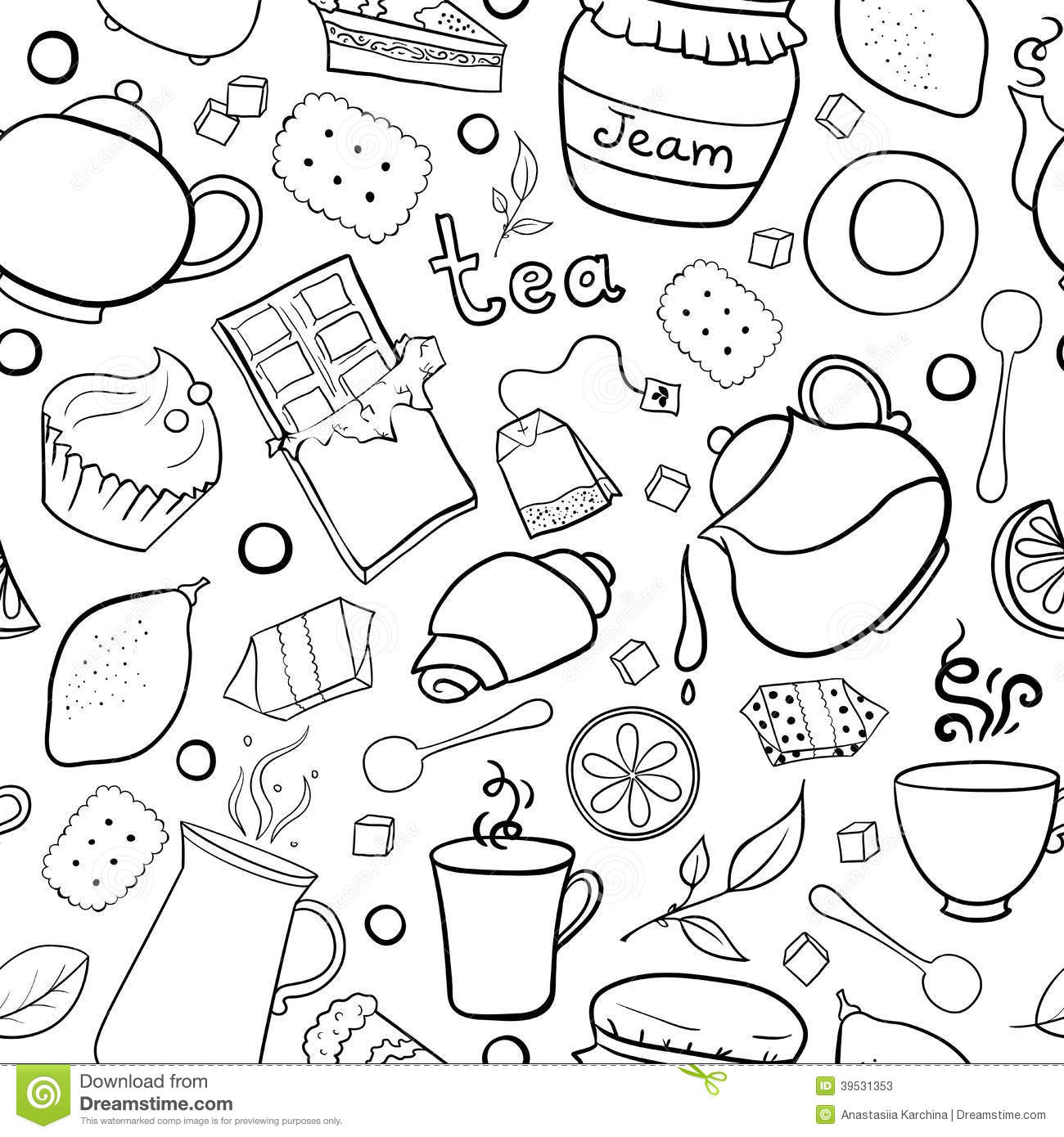 Tea And Sweets Black And White Seamless Pattern Stock