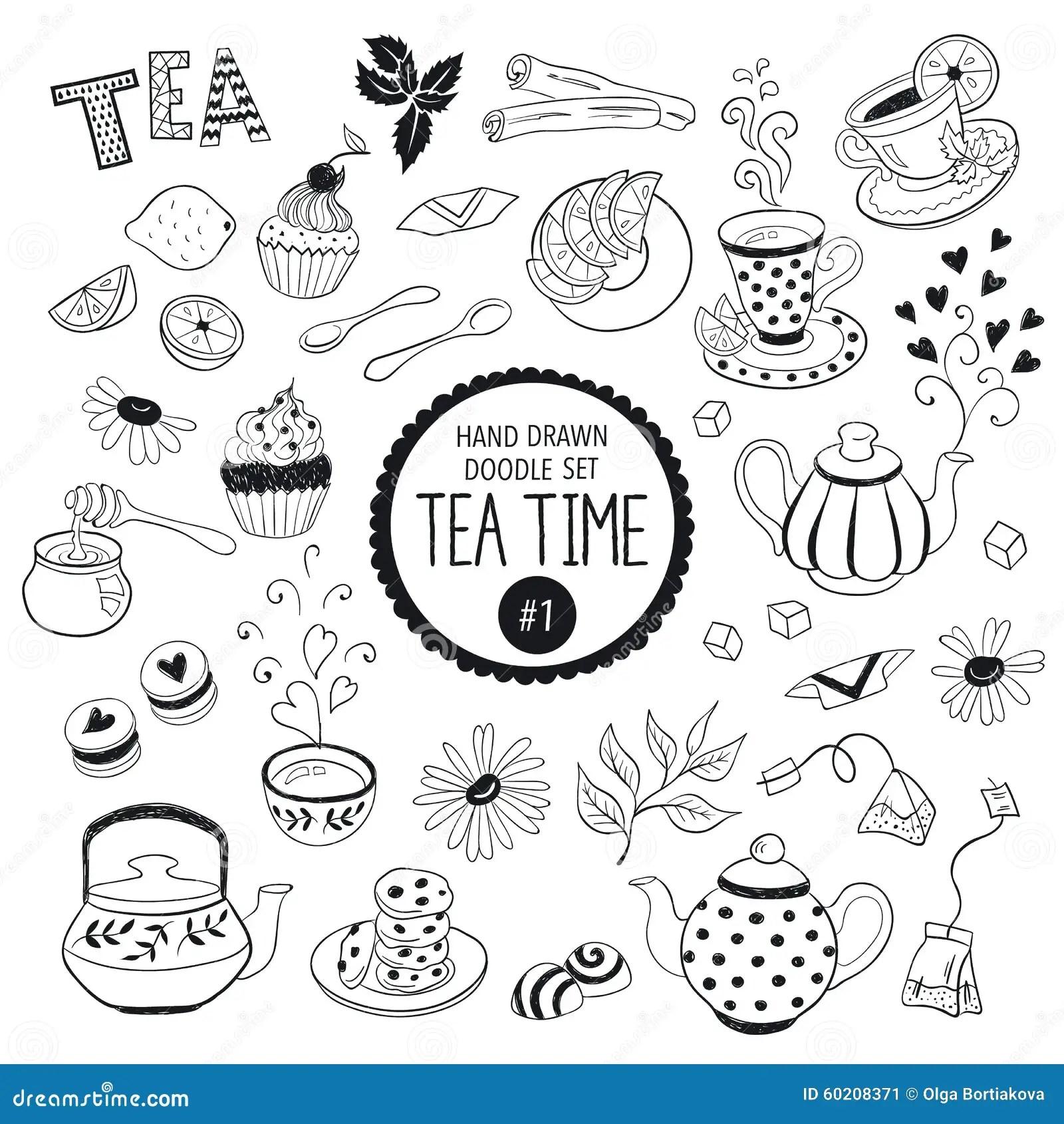 Tea Time Doodle Elements Set Stock Vector Image 60208371