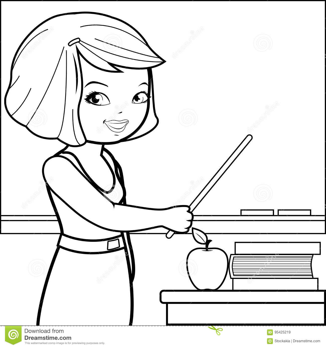 Teacher Teaching At Class Coloring Book Page Stock