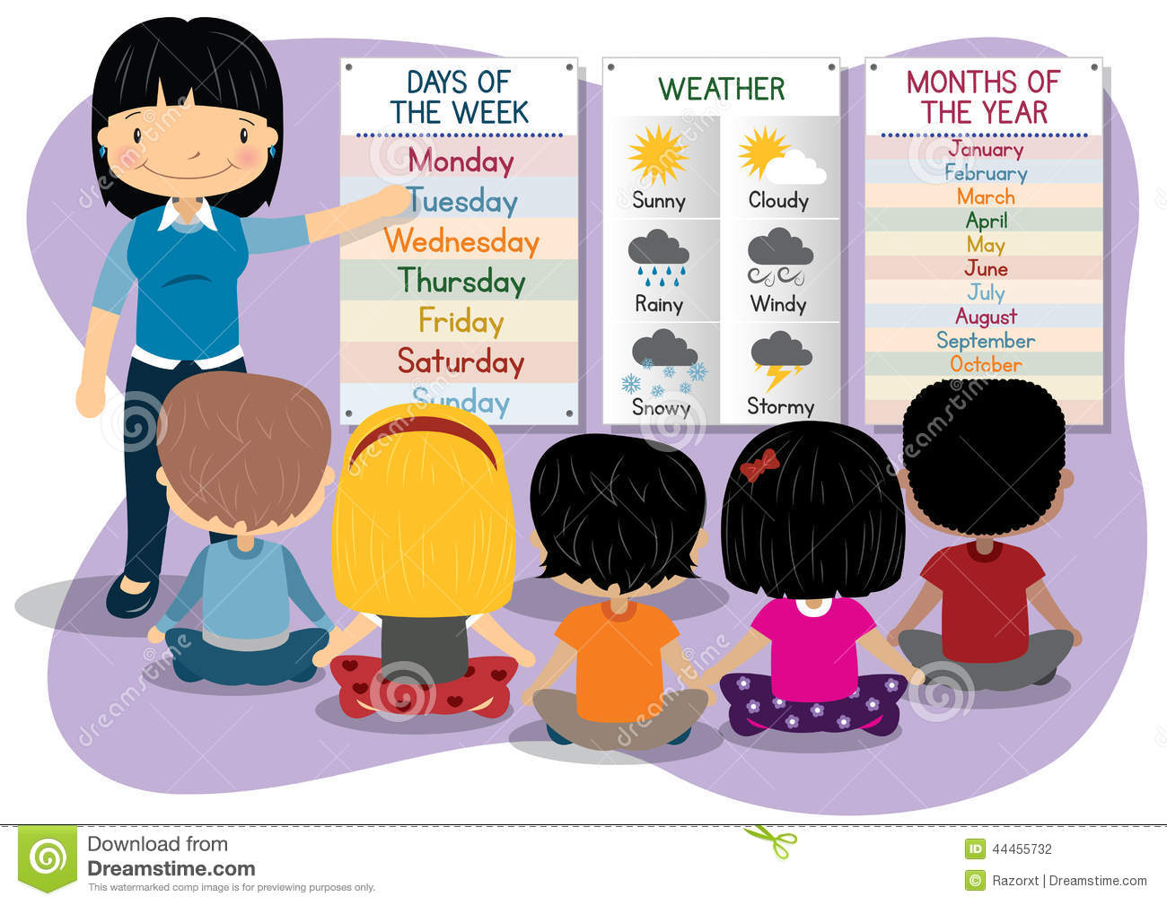 Teaching Days Months Weather Stock Vector