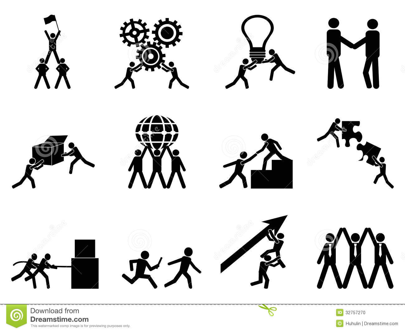 Teamwork Icons Set Stock Vector Illustration Of