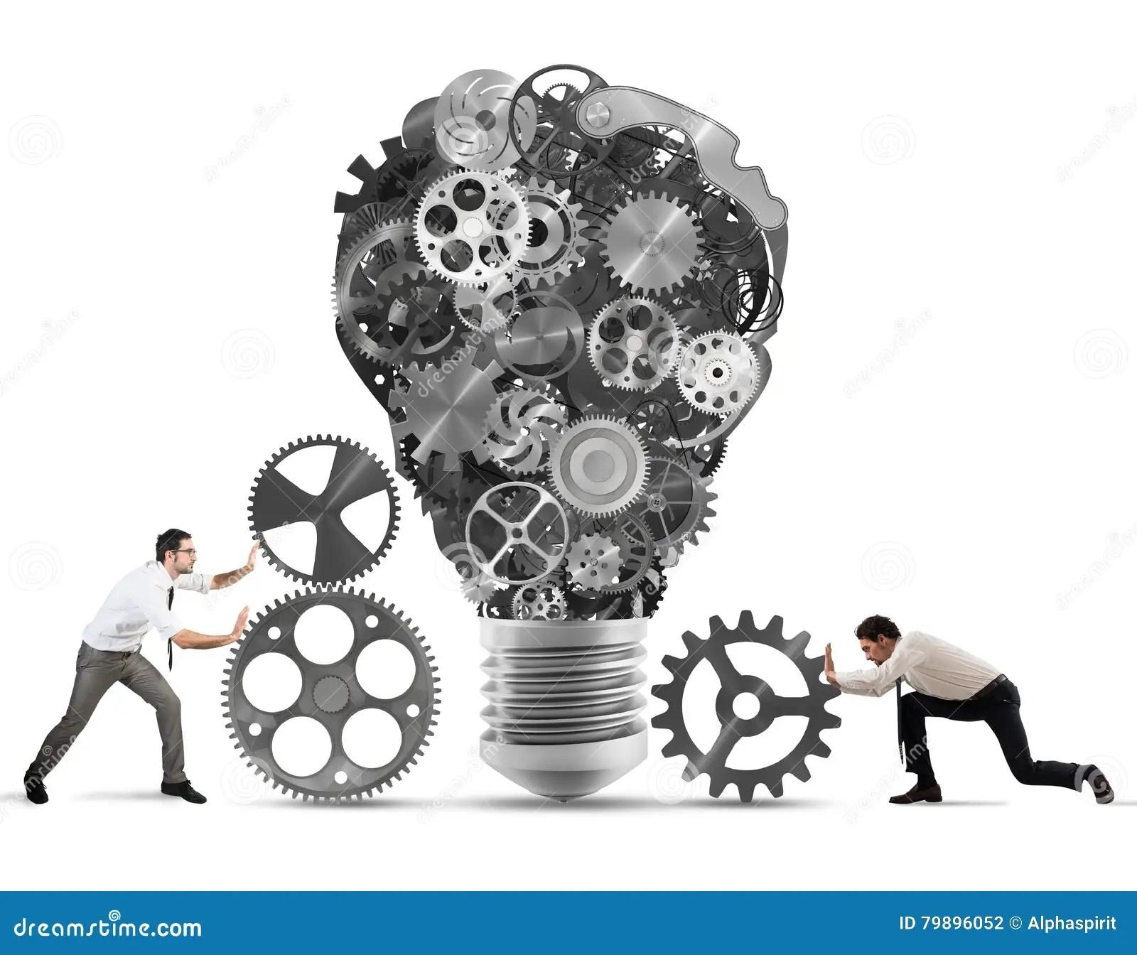 Teamwork Powering An Idea Stock Photo Image Of